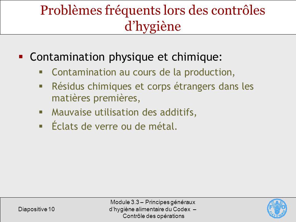 Diapositive 10 Module 3.3 – Principes généraux dhygiène alimentaire du Codex – Contrôle des opérations Problèmes fréquents lors des contrôles dhygiène