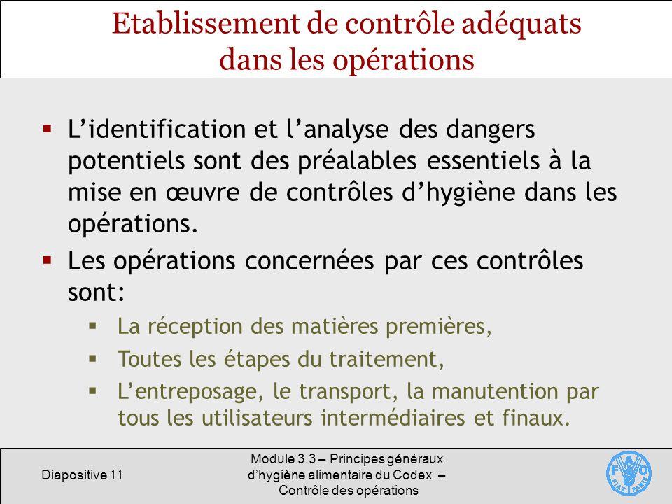 Diapositive 11 Module 3.3 – Principes généraux dhygiène alimentaire du Codex – Contrôle des opérations Etablissement de contrôle adéquats dans les opé