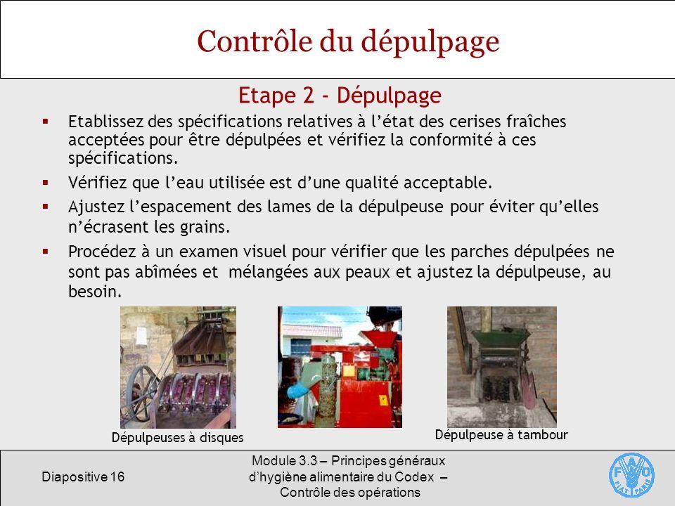 Diapositive 16 Module 3.3 – Principes généraux dhygiène alimentaire du Codex – Contrôle des opérations Etape 2 - Dépulpage Contrôle du dépulpage Etabl