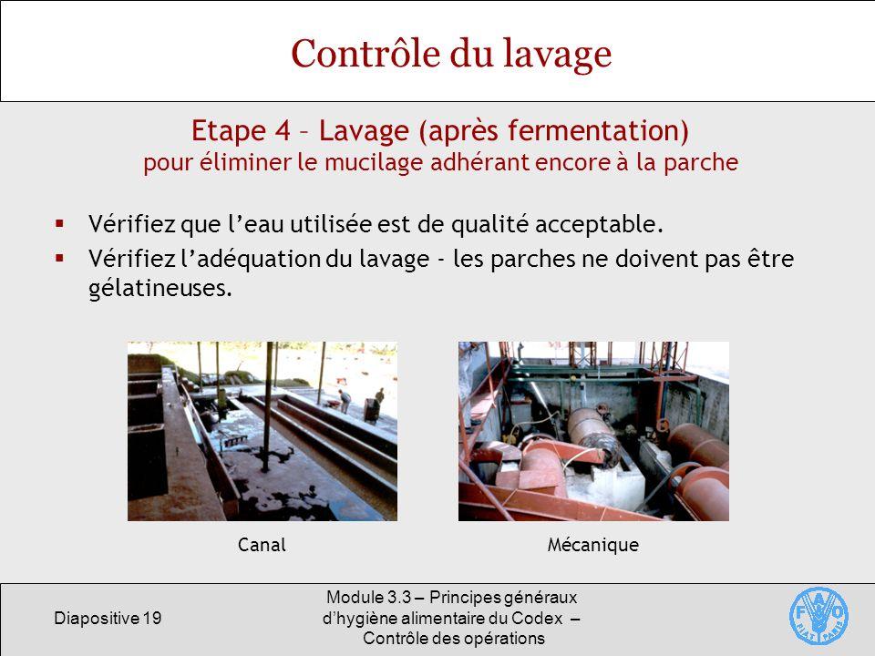 Diapositive 19 Module 3.3 – Principes généraux dhygiène alimentaire du Codex – Contrôle des opérations Etape 4 – Lavage (après fermentation) pour élim
