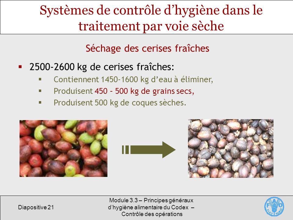 Diapositive 21 Module 3.3 – Principes généraux dhygiène alimentaire du Codex – Contrôle des opérations Séchage des cerises fraîches Systèmes de contrô