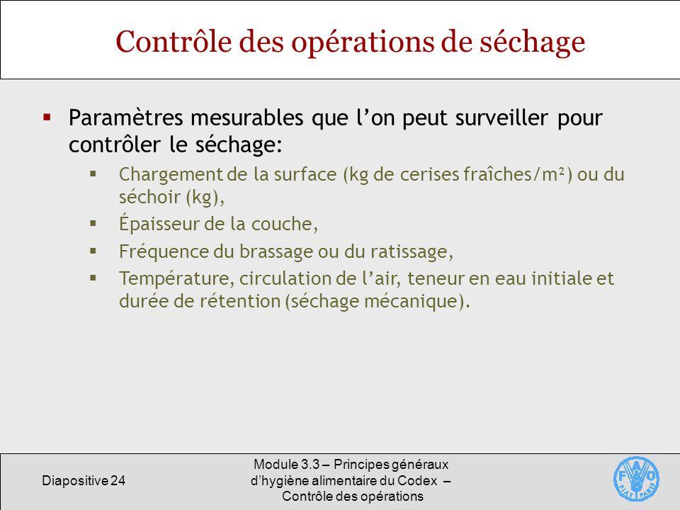 Diapositive 24 Module 3.3 – Principes généraux dhygiène alimentaire du Codex – Contrôle des opérations Contrôle des opérations de séchage Paramètres m