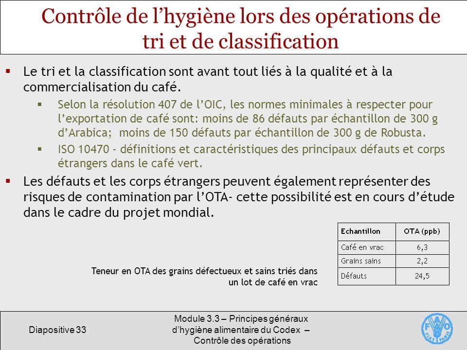 Diapositive 33 Module 3.3 – Principes généraux dhygiène alimentaire du Codex – Contrôle des opérations Contrôle de lhygiène lors des opérations de tri