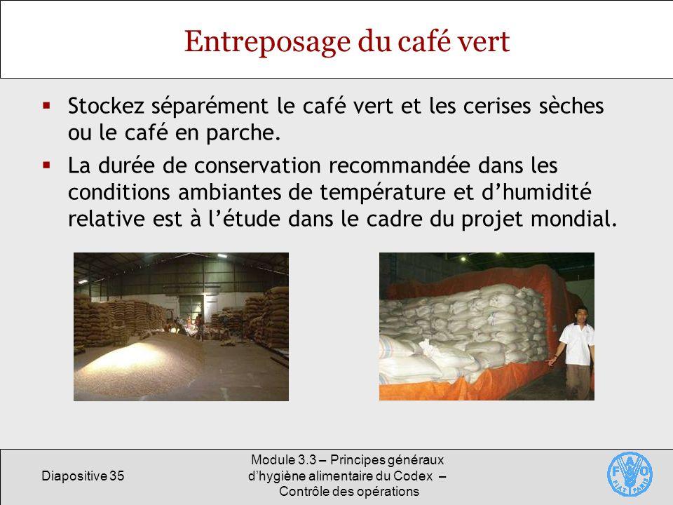 Diapositive 35 Module 3.3 – Principes généraux dhygiène alimentaire du Codex – Contrôle des opérations Entreposage du café vert Stockez séparément le