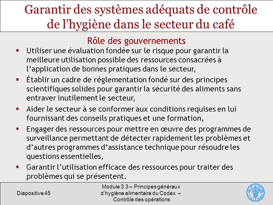 Diapositive 45 Module 3.3 – Principes généraux dhygiène alimentaire du Codex – Contrôle des opérations Garantir des systèmes adéquats de contrôle de l