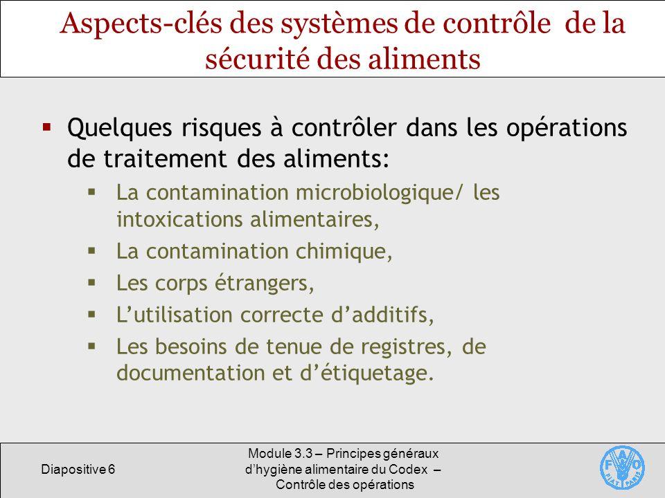 Diapositive 6 Module 3.3 – Principes généraux dhygiène alimentaire du Codex – Contrôle des opérations Aspects-clés des systèmes de contrôle de la sécu