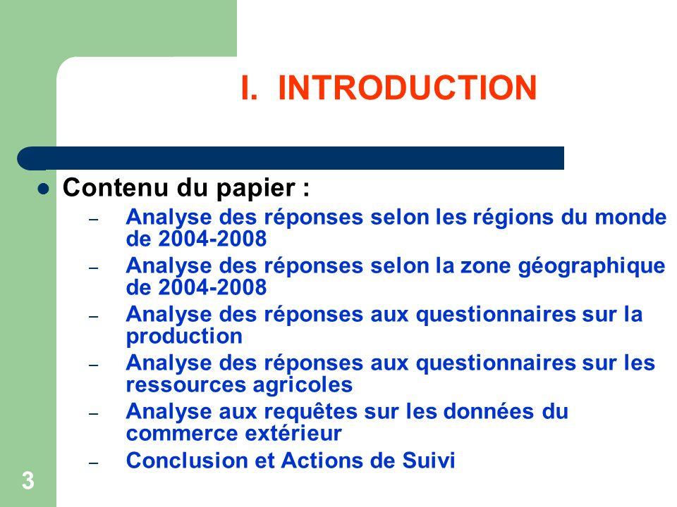 3 I. INTRODUCTION Contenu du papier : – Analyse des réponses selon les régions du monde de 2004-2008 – Analyse des réponses selon la zone géographique