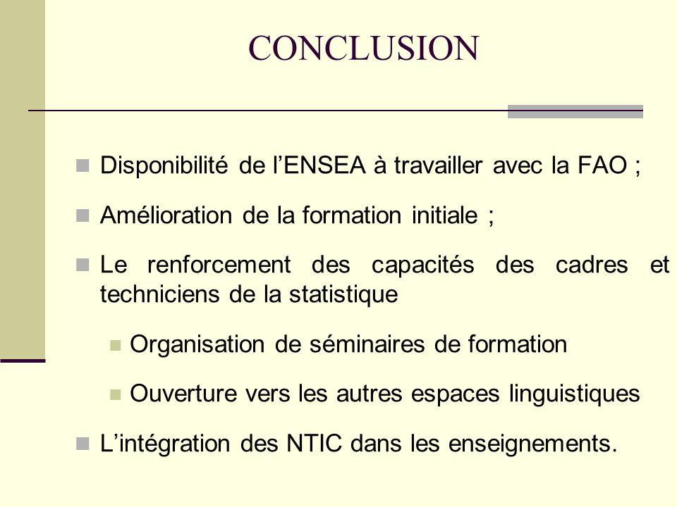 CONCLUSION Disponibilité de lENSEA à travailler avec la FAO ; Amélioration de la formation initiale ; Le renforcement des capacités des cadres et techniciens de la statistique Organisation de séminaires de formation Ouverture vers les autres espaces linguistiques Lintégration des NTIC dans les enseignements.