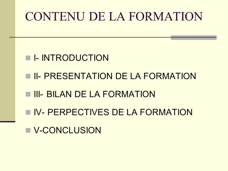 CONTENU DE LA FORMATION I- INTRODUCTION II- PRESENTATION DE LA FORMATION III- BILAN DE LA FORMATION IV- PERPECTIVES DE LA FORMATION V-CONCLUSION