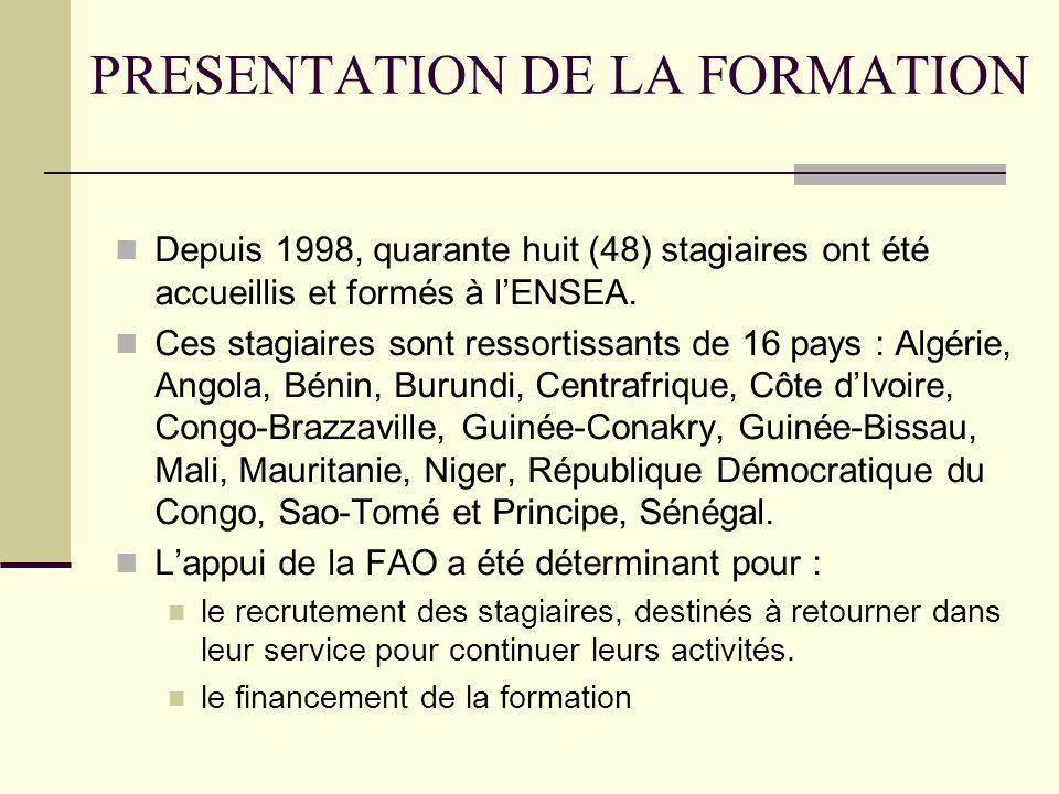 PRESENTATION DE LA FORMATION Depuis 1998, quarante huit (48) stagiaires ont été accueillis et formés à lENSEA.