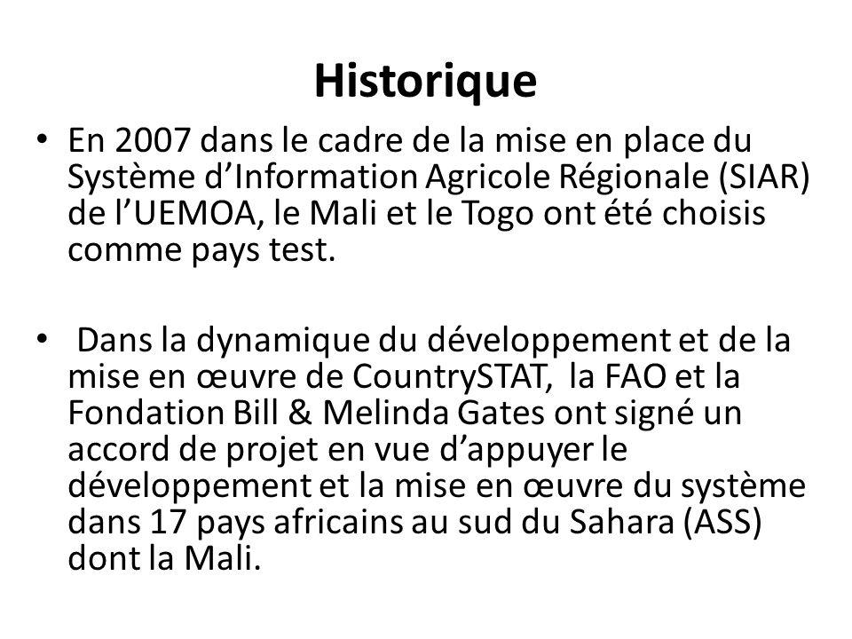 Historique En 2007 dans le cadre de la mise en place du Système dInformation Agricole Régionale (SIAR) de lUEMOA, le Mali et le Togo ont été choisis c