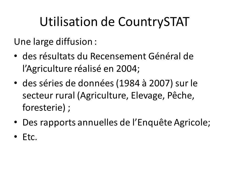 Utilisation de CountrySTAT Une large diffusion : des résultats du Recensement Général de lAgriculture réalisé en 2004; des séries de données (1984 à 2