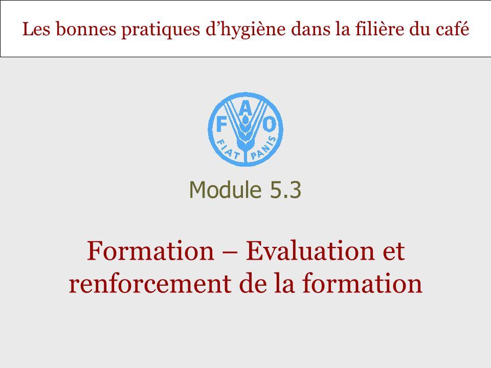 Les bonnes pratiques dhygiène dans la filière du café Formation – Evaluation et renforcement de la formation Module 5.3