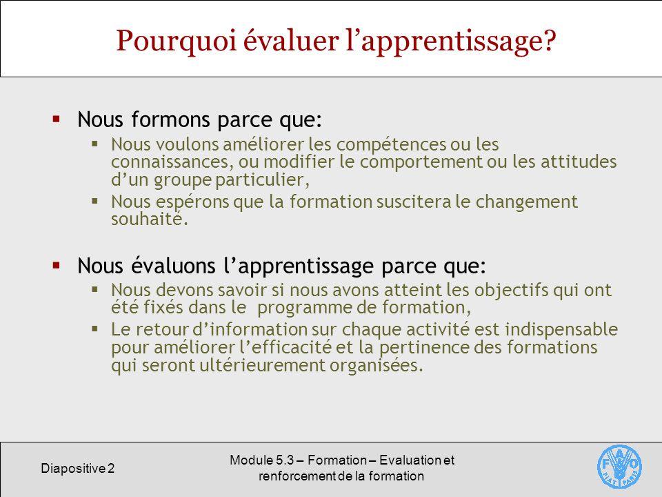 Diapositive 3 Module 5.3 – Formation – Evaluation et renforcement de la formation Lévaluation: une partie intégrante du cycle de formation Lélaboration dune formation doit inclure lévaluation de lapprentissage.