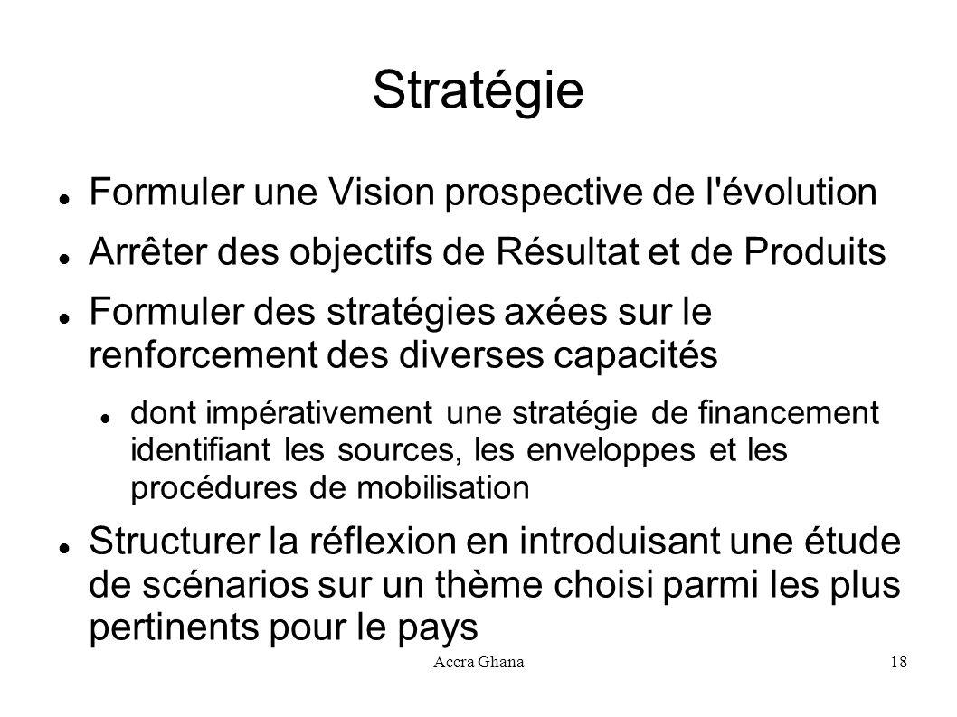Accra Ghana18 Stratégie Formuler une Vision prospective de l'évolution Arrêter des objectifs de Résultat et de Produits Formuler des stratégies axées