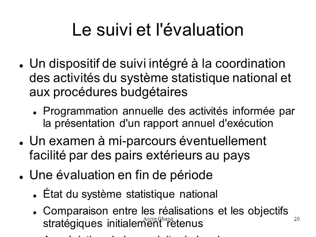 Accra Ghana20 Le suivi et l'évaluation Un dispositif de suivi intégré à la coordination des activités du système statistique national et aux procédure