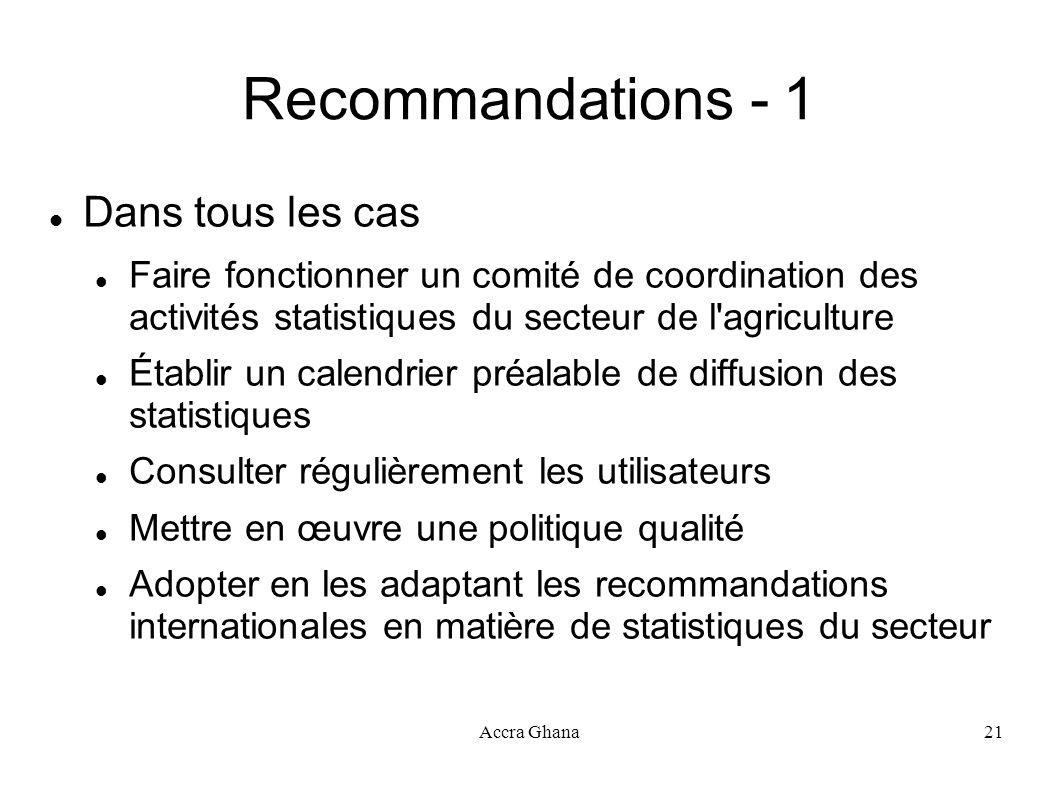 Accra Ghana21 Recommandations - 1 Dans tous les cas Faire fonctionner un comité de coordination des activités statistiques du secteur de l'agriculture