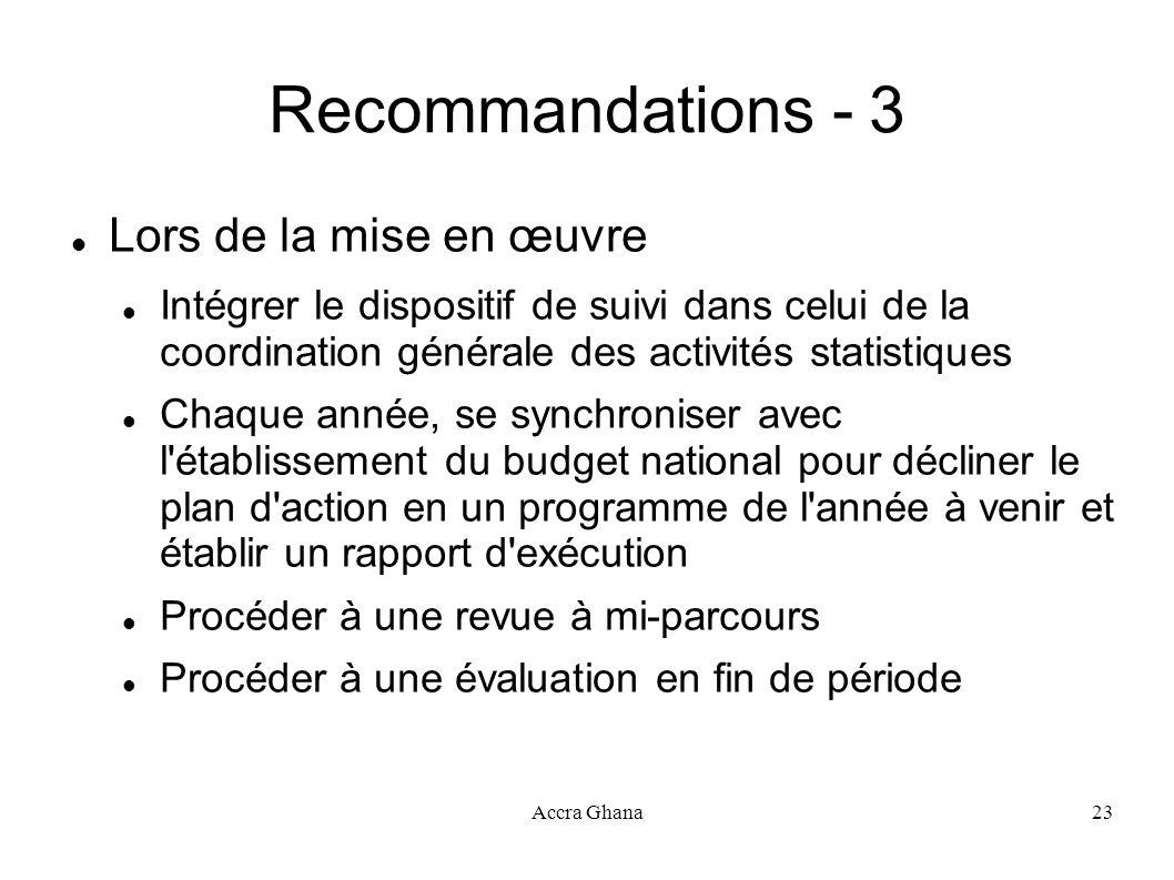 Accra Ghana23 Recommandations - 3 Lors de la mise en œuvre Intégrer le dispositif de suivi dans celui de la coordination générale des activités statis