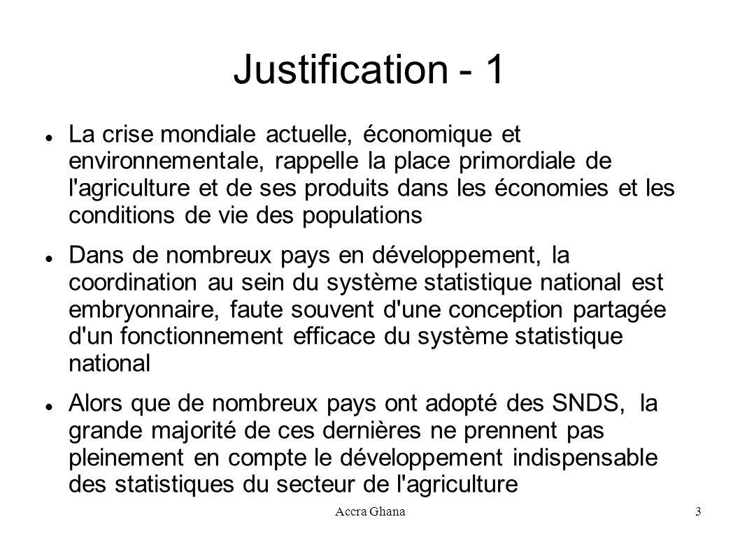Accra Ghana3 Justification - 1 La crise mondiale actuelle, économique et environnementale, rappelle la place primordiale de l'agriculture et de ses pr