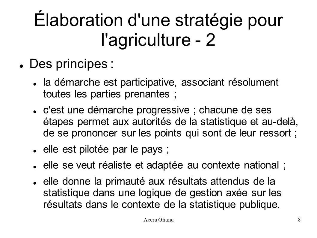 Accra Ghana8 Élaboration d'une stratégie pour l'agriculture - 2 Des principes : la démarche est participative, associant résolument toutes les parties
