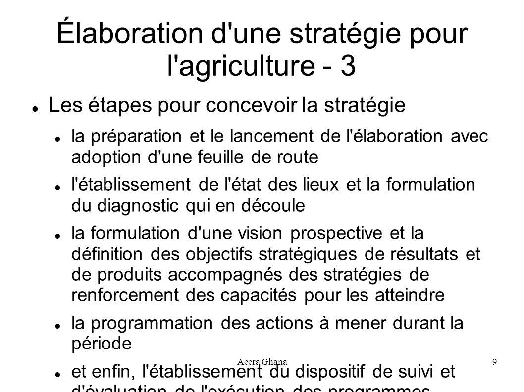 Accra Ghana9 Élaboration d'une stratégie pour l'agriculture - 3 Les étapes pour concevoir la stratégie la préparation et le lancement de l'élaboration