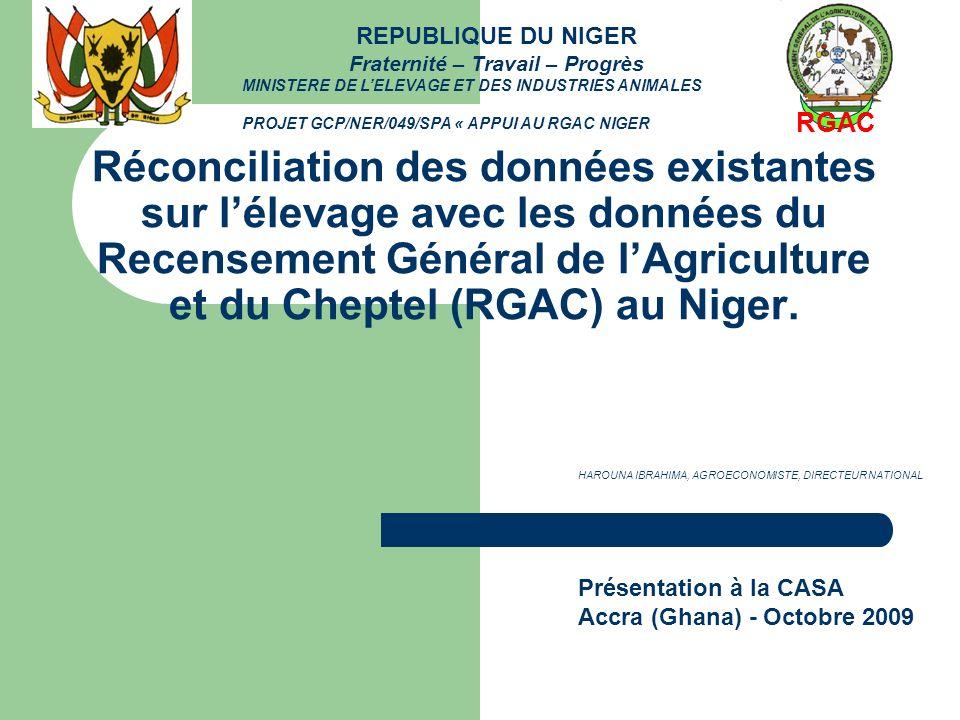 Réconciliation des données existantes sur lélevage avec les données du Recensement Général de lAgriculture et du Cheptel (RGAC) au Niger. Présentation