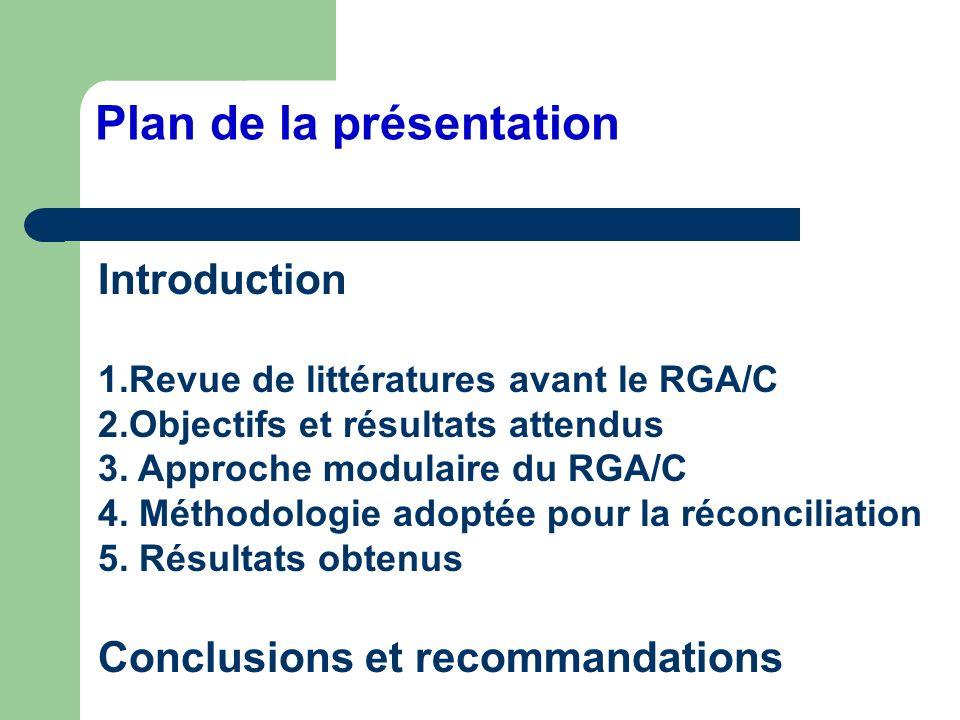 Plan de la présentation Introduction 1.Revue de littératures avant le RGA/C 2.Objectifs et résultats attendus 3. Approche modulaire du RGA/C 4. Méthod