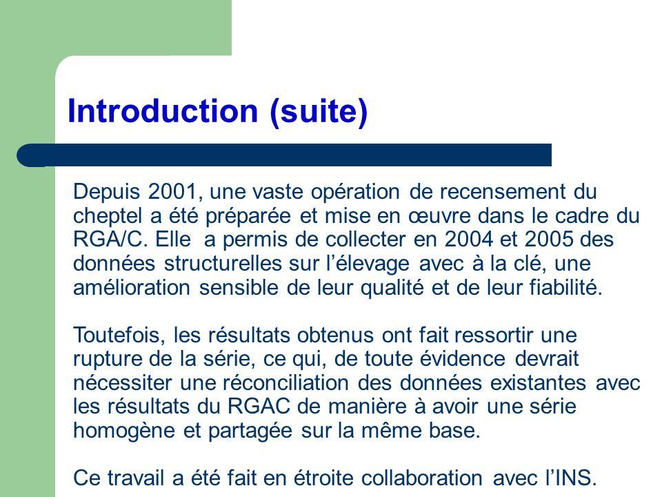 Introduction (suite) Depuis 2001, une vaste opération de recensement du cheptel a été préparée et mise en œuvre dans le cadre du RGA/C. Elle a permis