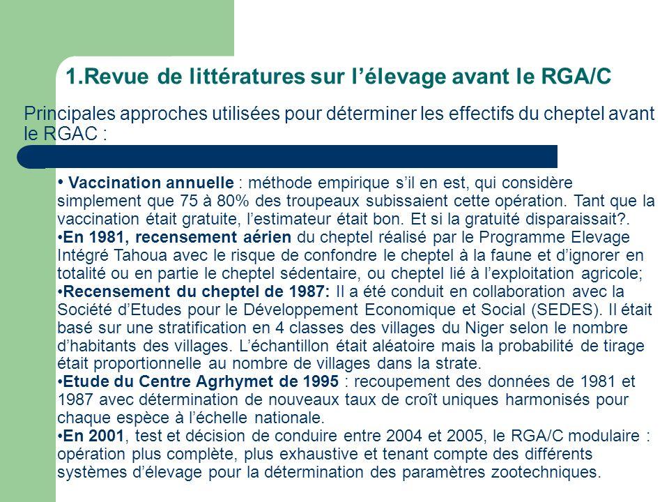 1.Revue de littératures sur lélevage avant le RGA/C Principales approches utilisées pour déterminer les effectifs du cheptel avant le RGAC : Vaccinati