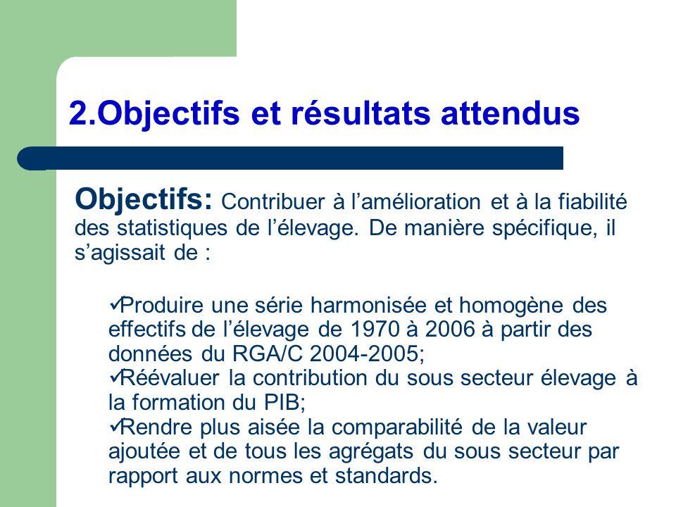 2.Objectifs et résultats attendus Objectifs: Contribuer à lamélioration et à la fiabilité des statistiques de lélevage. De manière spécifique, il sagi