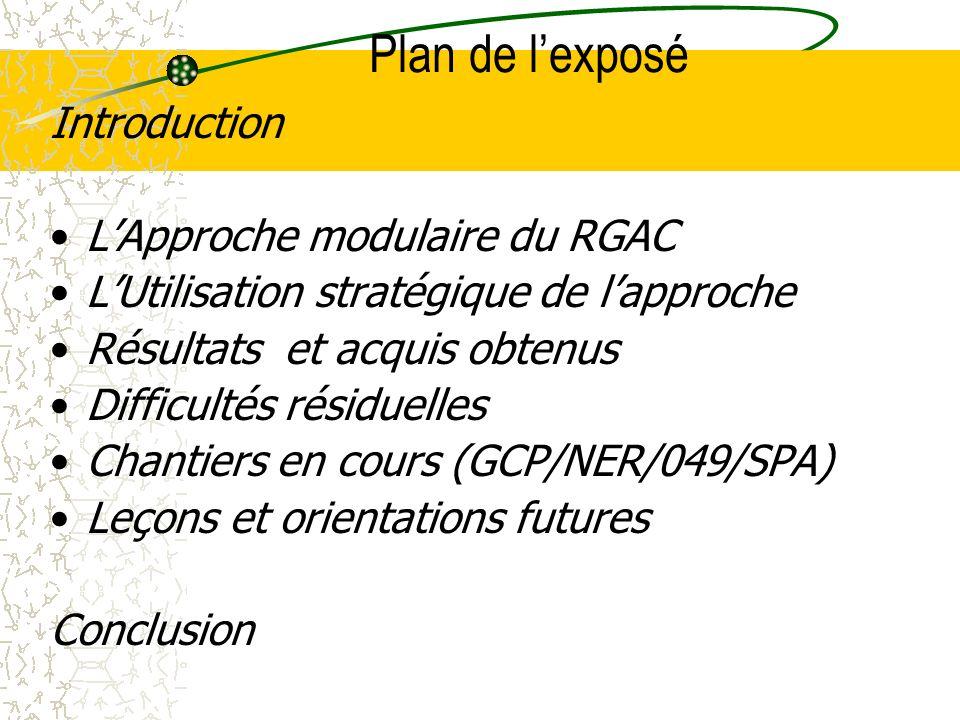 Plan de lexposé Introduction LApproche modulaire du RGAC LUtilisation stratégique de lapproche Résultats et acquis obtenus Difficultés résiduelles Chantiers en cours (GCP/NER/049/SPA) Leçons et orientations futures Conclusion