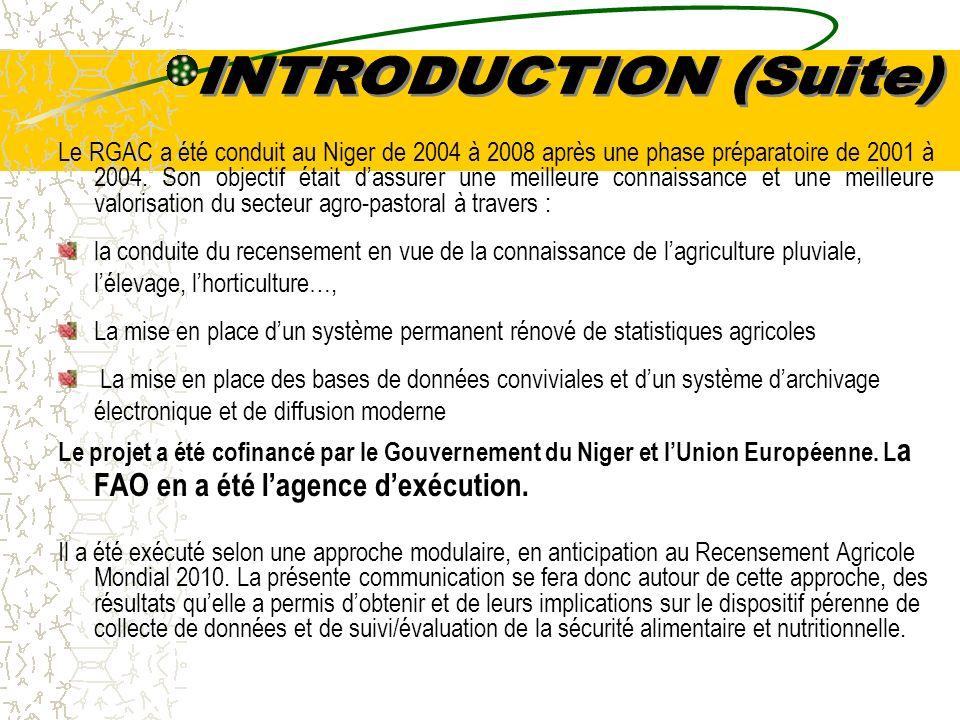 Le RGAC a été conduit au Niger de 2004 à 2008 après une phase préparatoire de 2001 à 2004.