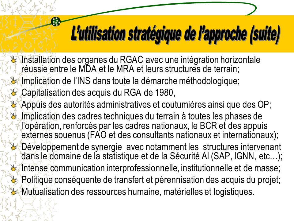 Installation des organes du RGAC avec une intégration horizontale réussie entre le MDA et le MRA et leurs structures de terrain; Implication de lINS dans toute la démarche méthodologique; Capitalisation des acquis du RGA de 1980, Appuis des autorités administratives et coutumières ainsi que des OP; Implication des cadres techniques du terrain à toutes les phases de lopération, renforcés par les cadres nationaux, le BCR et des appuis externes souenus (FAO et des consultants nationaux et internationaux); Développement de synergie avec notamment les structures intervenant dans le domaine de la statistique et de la Sécurité Al (SAP, IGNN, etc…); Intense communication interprofessionnelle, institutionnelle et de masse; Politique conséquente de transfert et pérennisation des acquis du projet; Mutualisation des ressources humaine, matérielles et logistiques.