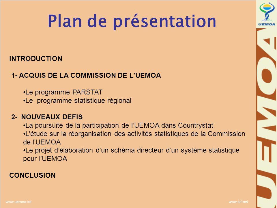 www.uemoa.int www.izf.net Plan de présentation INTRODUCTION 1- ACQUIS DE LA COMMISSION DE LUEMOA Le programme PARSTAT Le programme statistique régional 2- NOUVEAUX DEFIS La poursuite de la participation de lUEMOA dans Countrystat Létude sur la réorganisation des activités statistiques de la Commission de lUEMOA Le projet délaboration dun schéma directeur dun système statistique pour lUEMOA CONCLUSION