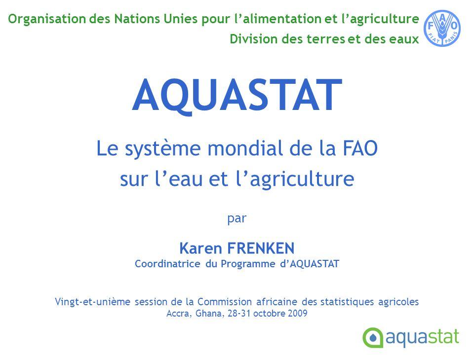 Objectif Fournir aux utilisateurs une information synthétique sur les ressources en eau et sur la situation de la gestion de leau pour lagriculture à travers le monde Prélèvements deau par secteur en Afrique