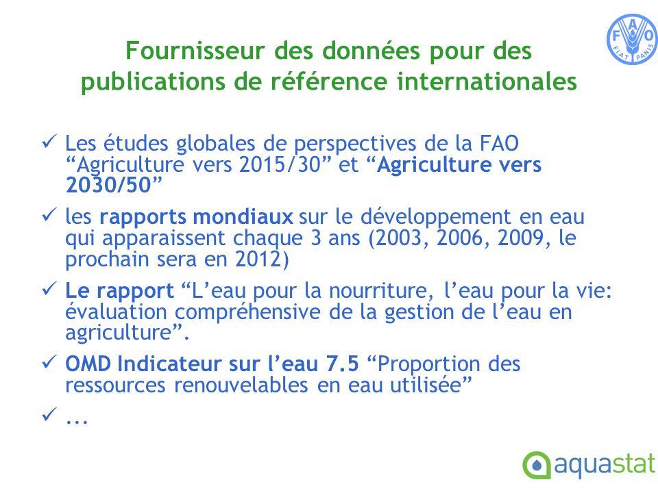 Les études globales de perspectives de la FAO Agriculture vers 2015/30 et Agriculture vers 2030/50 les rapports mondiaux sur le développement en eau qui apparaissent chaque 3 ans (2003, 2006, 2009, le prochain sera en 2012) Le rapport Leau pour la nourriture, leau pour la vie: évaluation compréhensive de la gestion de leau en agriculture.
