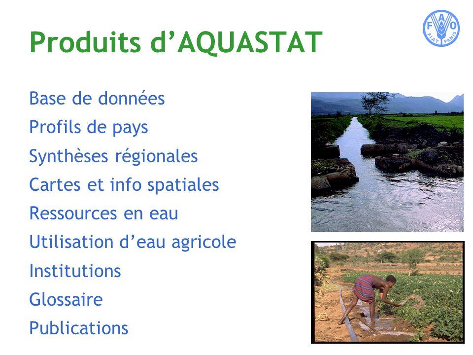 Produits dAQUASTAT Base de données Profils de pays Synthèses régionales Cartes et info spatiales Ressources en eau Utilisation deau agricole Institutions Glossaire Publications