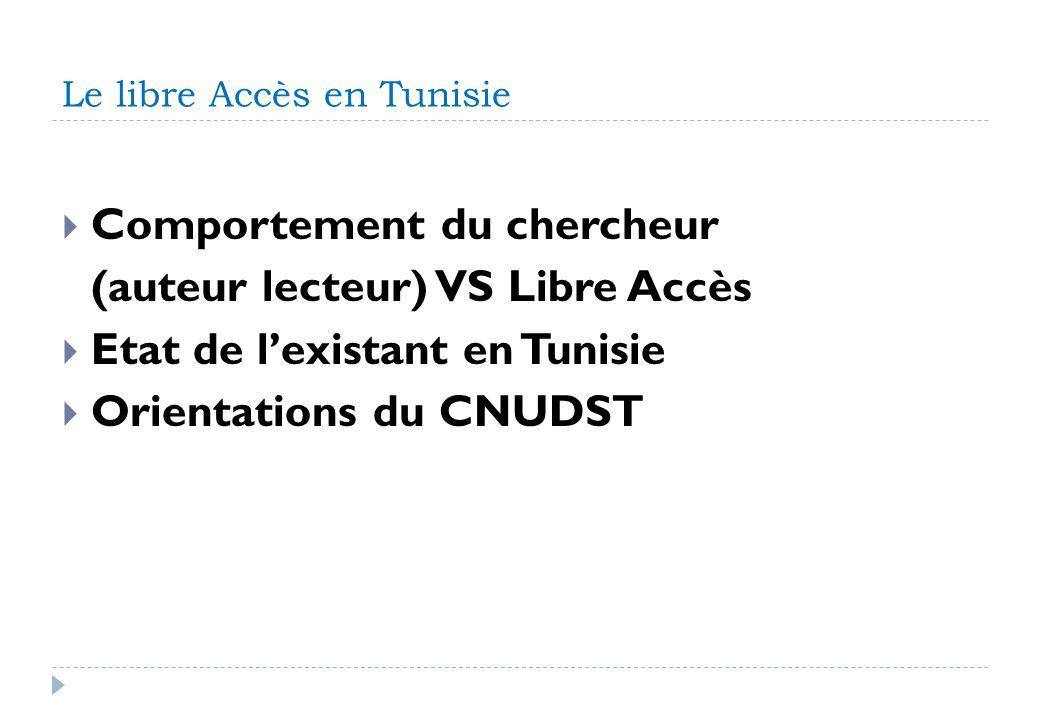 Le libre Accès en Tunisie Comportement du chercheur (auteur lecteur) VS Libre Accès Etat de lexistant en Tunisie Orientations du CNUDST
