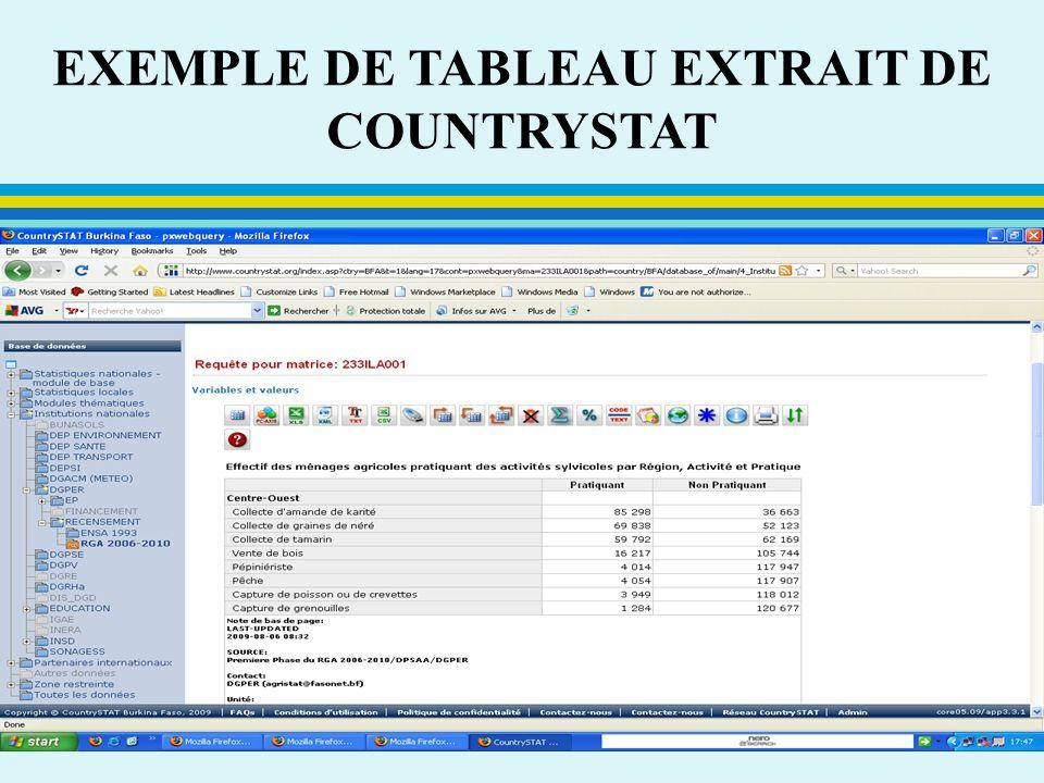 EXEMPLE DE TABLEAU EXTRAIT DE COUNTRYSTAT