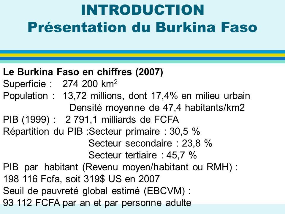 Le Burkina Faso en chiffres (2007) Superficie : 274 200 km 2 Population : 13,72 millions, dont 17,4% en milieu urbain Densité moyenne de 47,4 habitant