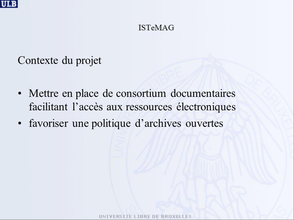 ISTeMAG Contexte du projet Mettre en place de consortium documentaires facilitant laccès aux ressources électroniques favoriser une politique darchives ouvertes