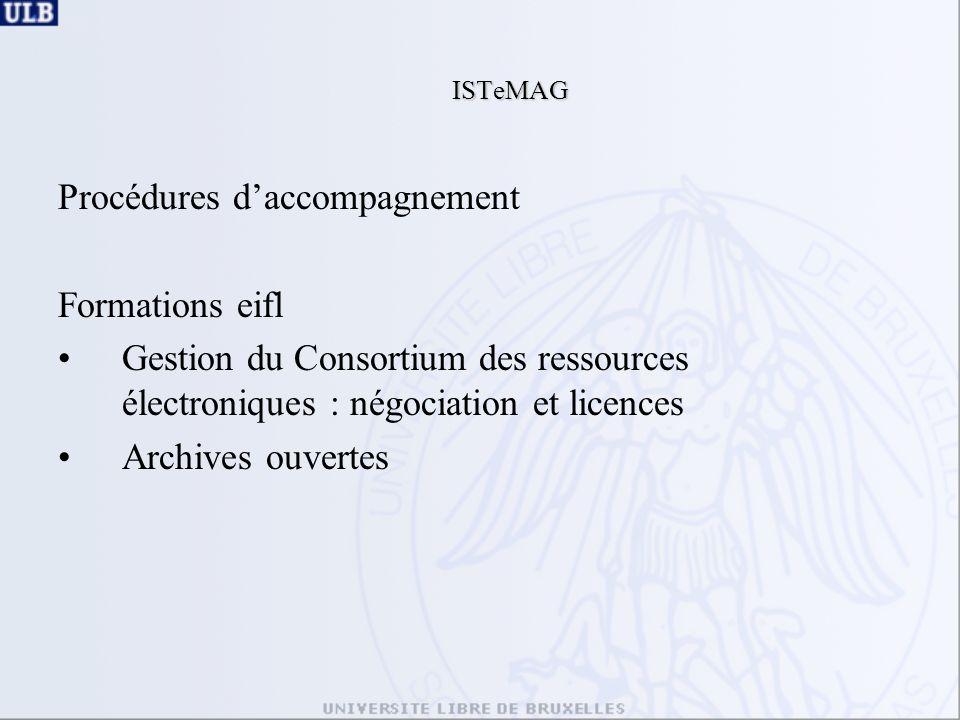 ISTeMAG Procédures daccompagnement Formations eifl Gestion du Consortium des ressources électroniques : négociation et licences Archives ouvertes