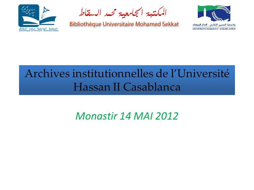 Archives institutionnelles de lUniversité Hassan II Casablanca Monastir 14 MAI 2012