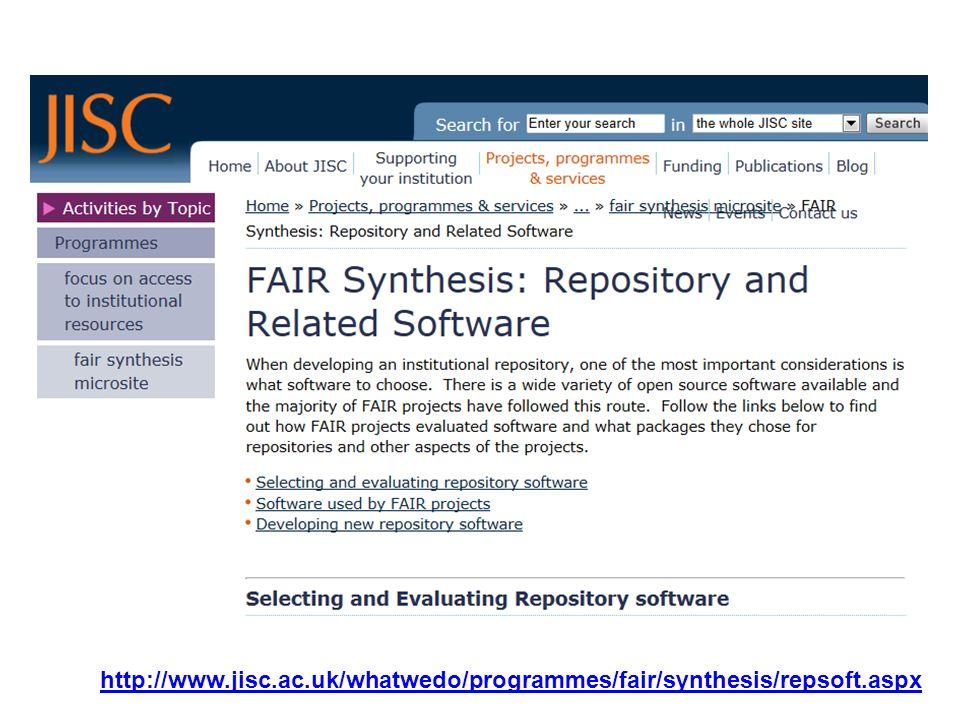 Une avantage importante de DSpace... http://repository.ksu.edu.sa/