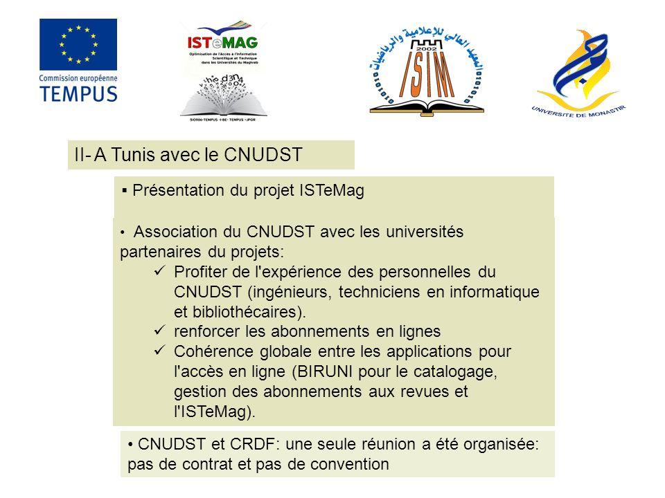 Présentation du projet ISTeMag II- A Tunis avec le CNUDST Association du CNUDST avec les universités partenaires du projets: Profiter de l expérience des personnelles du CNUDST (ingénieurs, techniciens en informatique et bibliothécaires).