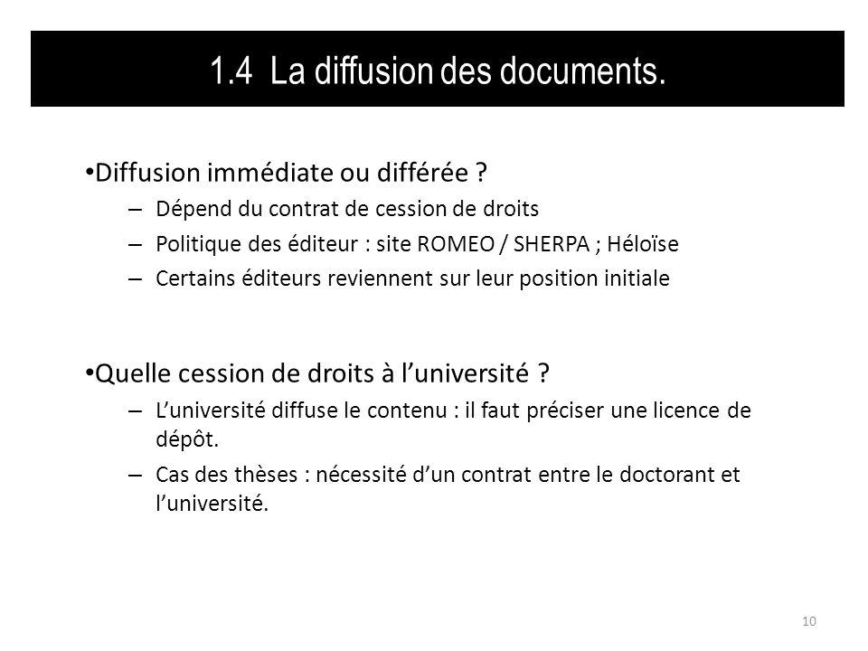 1.4 La diffusion des documents. Diffusion immédiate ou différée .