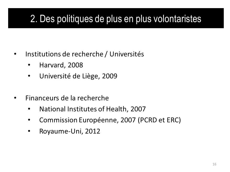 2. Des politiques de plus en plus volontaristes Institutions de recherche / Universités Harvard, 2008 Université de Liège, 2009 Financeurs de la reche