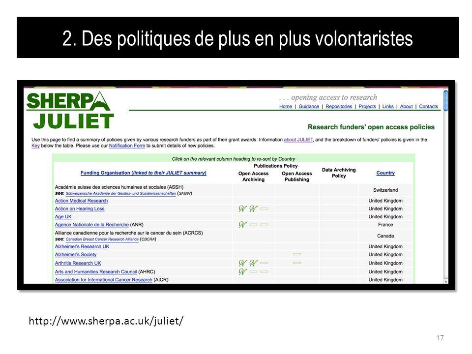 2. Des politiques de plus en plus volontaristes 17 http://www.sherpa.ac.uk/juliet/