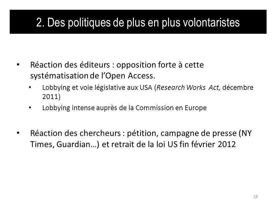 2. Des politiques de plus en plus volontaristes Réaction des éditeurs : opposition forte à cette systématisation de lOpen Access. Lobbying et voie lég