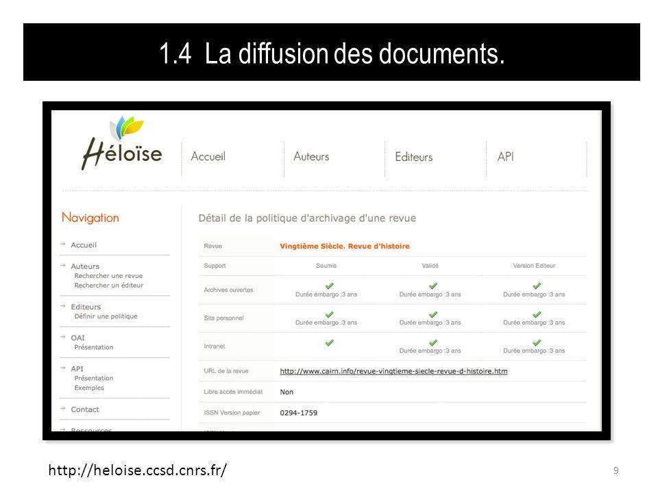 1.4 La diffusion des documents.Diffusion immédiate ou différée .